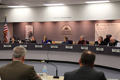 School Board Members at meeting